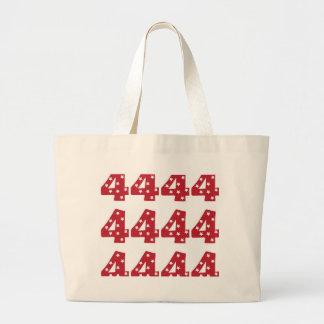 Number 4 - White Stars on Dark Red Canvas Bag