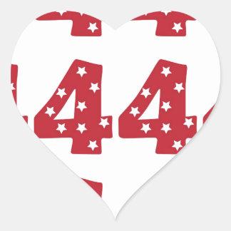Number 4 - White Stars on Dark Red Heart Sticker