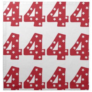 Number 4 - White Stars on Dark Red Cloth Napkin