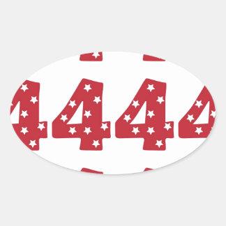 Number 4 - White Stars on Dark Red Oval Sticker