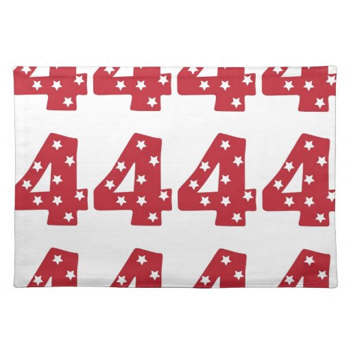 Number 4 - White Stars on Dark Red Place Mats