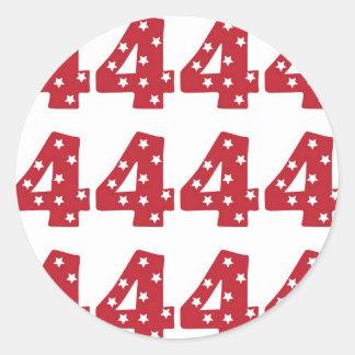 Number 4 - White Stars on Dark Red Round Sticker