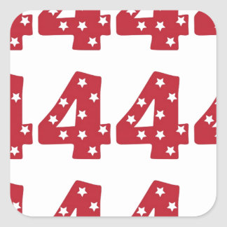 Number 4 - White Stars on Dark Red Square Sticker