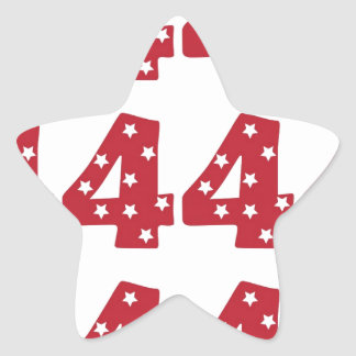 Number 4 - White Stars on Dark Red Star Sticker