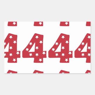 Number 4 - White Stars on Dark Red Rectangular Stickers