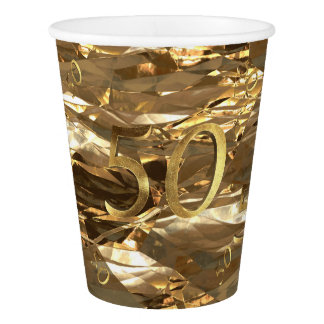 Number 50 50th Birthday Anniversary Gold Elegant Paper Cup