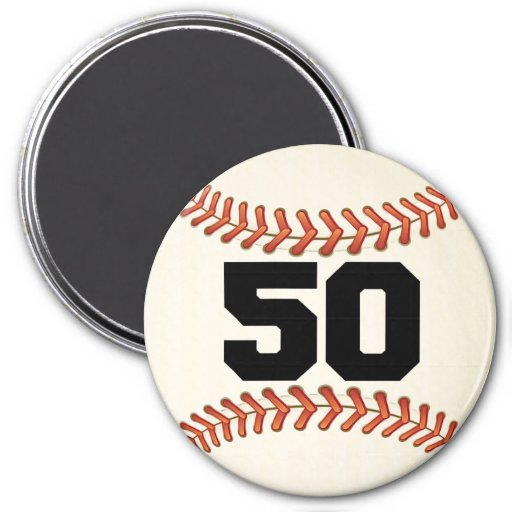 Number 50 Baseball 7.5 Cm Round Magnet