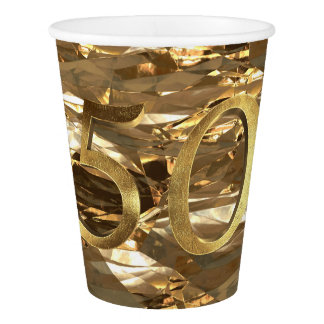 Number 50 Wedding 50th Birthday Anniversary Gold Paper Cup