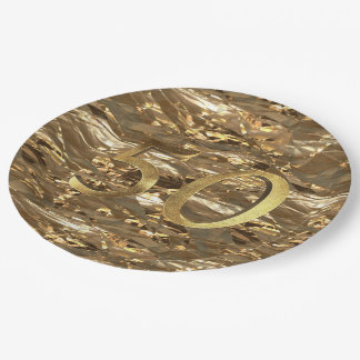 Number 50 Wedding 50th Birthday Anniversary Gold Paper Plate