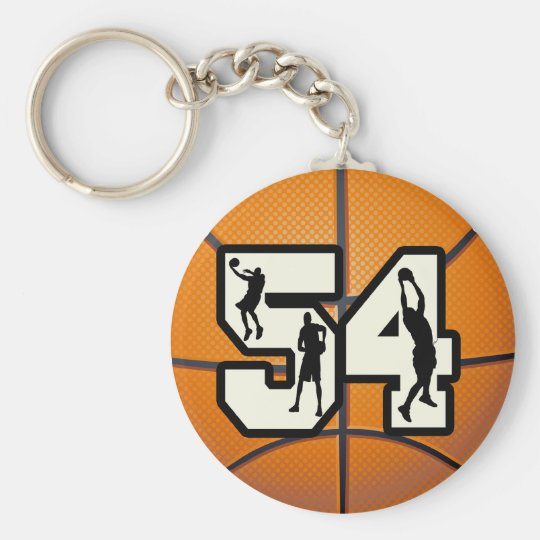 Number 54 Basketball Basic Round Button Key Ring