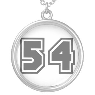 Number 54 round pendant necklace
