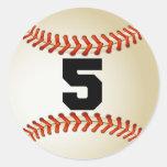 Number 5 Baseball Round Sticker