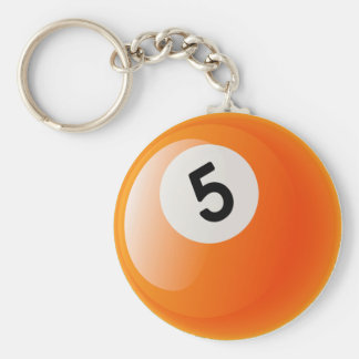 NUMBER 5 BILLIARDS BALL BASIC ROUND BUTTON KEY RING