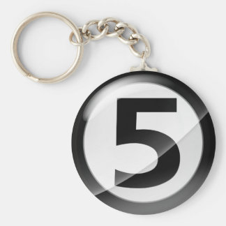 Number 5 black Key Chain