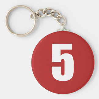 Number 5  in white on red button keychain