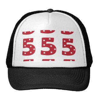 Number 5 - White Stars on Dark Red Cap