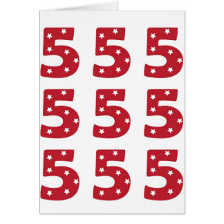 Number 5 - White Stars on Dark Red Greeting Card
