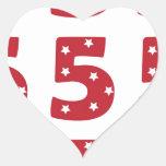 Number 5 - White Stars on Dark Red Heart Sticker
