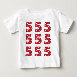 Number 5 - White Stars on Dark Red Infant T-Shirt
