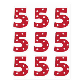 Number 5 - White Stars on Dark Red Postcard
