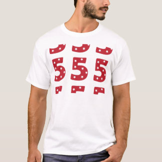 Number 5 - White Stars on Dark Red T-Shirt