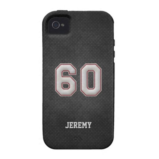 Number 60 Baseball Stitches with Black Metal Look iPhone 4 Cases