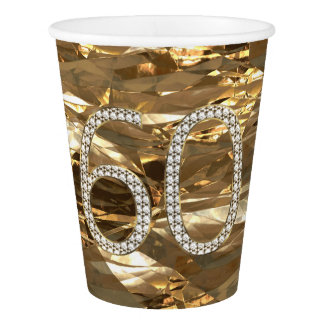 Number 60 Diamond Wedding 60th Anniversary Gold Paper Cup