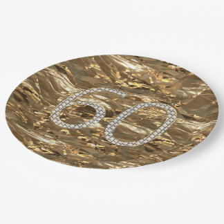 Number 60 Diamond Wedding 60th Anniversary Gold Paper Plate