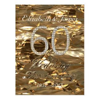 Number 60 Diamond Wedding 60th Anniversary Gold Postcard