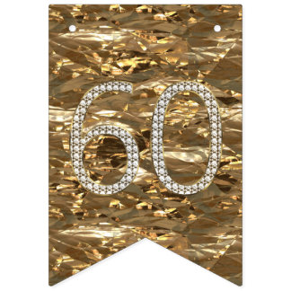 Number 60 Diamond Wedding Anniversary Gold Foil Bunting