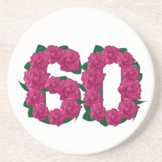 Number 60 floral beverage coaster