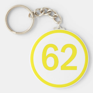 number, 62, in a circle key chain
