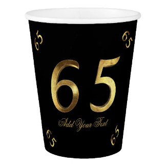 Number 65 65th Birthday Anniversary Gold Elegant Paper Cup