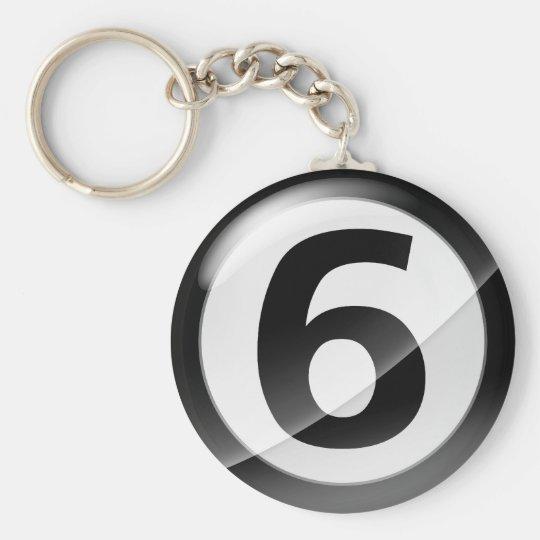 Number 6 black Key Chain