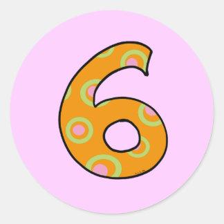 number 6 classic round sticker