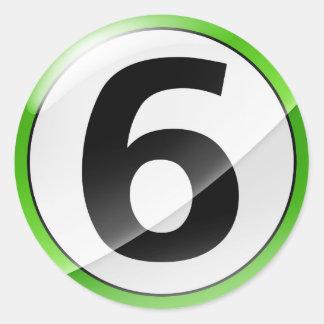 Number 6 green sticker
