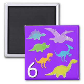 Number 6 Six Dinosaurs Counting Square Magnet