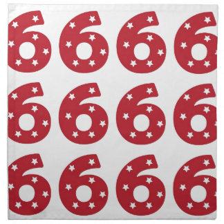 Number 6 - White Stars on Dark Red Cloth Napkin
