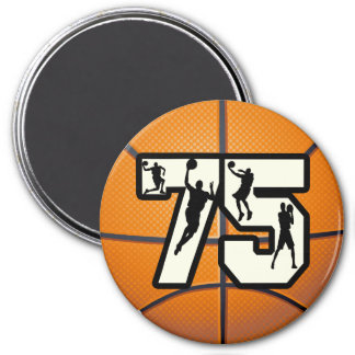 Number 75 Basketball 7.5 Cm Round Magnet