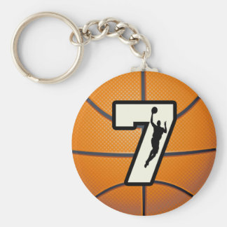 Number 7 Basketball and Player Key Ring