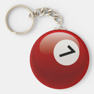 NUMBER 7 BILLIARDS BALL BASIC ROUND BUTTON KEY RING