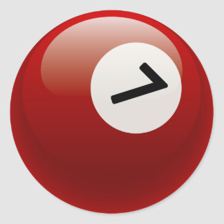 NUMBER 7 BILLIARDS BALL CLASSIC ROUND STICKER