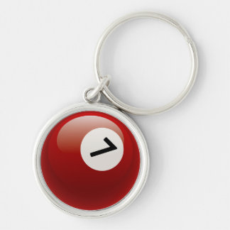 Number 7 Billiards Ball Silver-Colored Round Key Ring