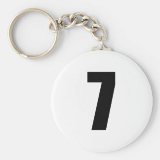number 7 in black on white button keychain