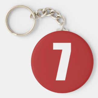 Number 7  in white on red button keychain