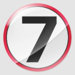 Number 7 red round stickers