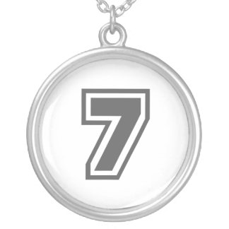 Number 7 silver plated necklace