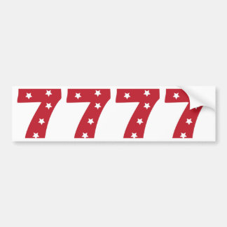 Number 7 - White Stars on Dark Red Bumper Sticker