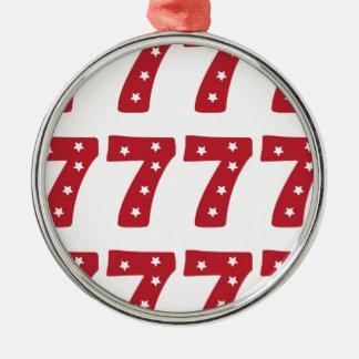 Number 7 - White Stars on Dark Red Christmas Ornament