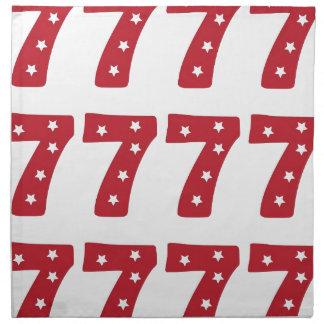 Number 7 - White Stars on Dark Red Printed Napkin